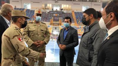وزير الرياضة يتفقد الصالة المغطاه بستاد القاهرة