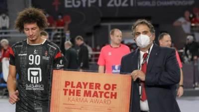 علي زين رجل مباراة مصر والدنمارك