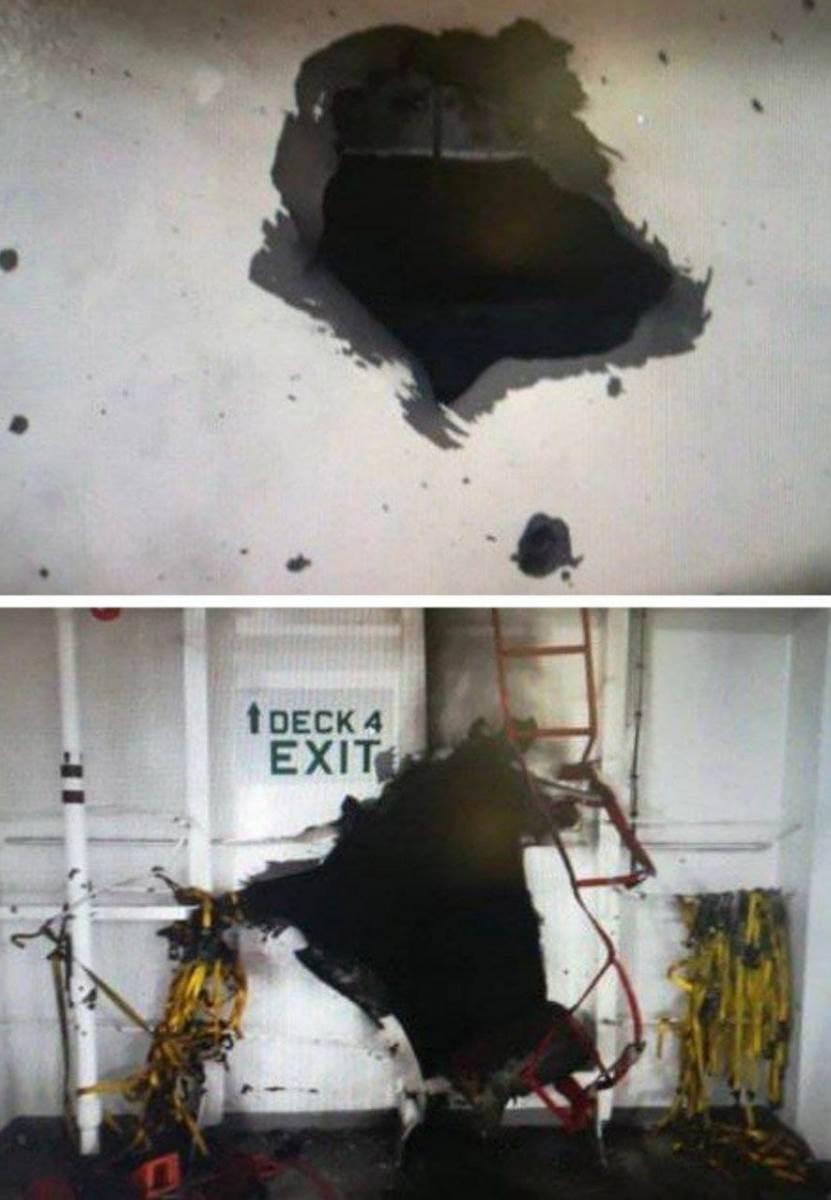 الأنفجار أحدث فتحتاين 1.5 متر  في جسم السفينة