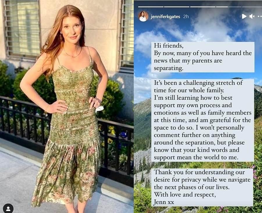 ردت جينيفر جيتس ، 25 عامًا، على نبأ انفصال والديها في منشور على Instagram مساء الاثنين