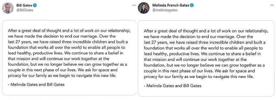 شارك مؤسس شركة Microsoft البالغ من العمر 65 عامًا وزوجته البالغة من العمر 56 عامًا الأخبار بتصريحات متطابقة على Twitter (في الصورة)